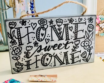 Home Sweet Home Hand Lettered Rectangular Galvanized Metal Rustic Farm Decor Hanging Sign