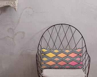 Black and White Stripe Geo Ombre Premium Pillow