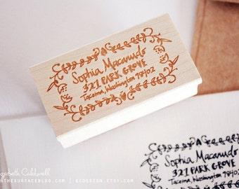 Sophia Custom Hand Drawn 1 x 2 inch Rubber Address Stamp with Decorative Border