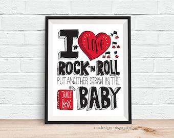 I Love Rock 'N Roll Hand drawn Type 11 x 14 Print Kids Room Decor in White/Black