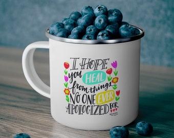 Hand Lettering Hope Heal Enamel Camping Mug