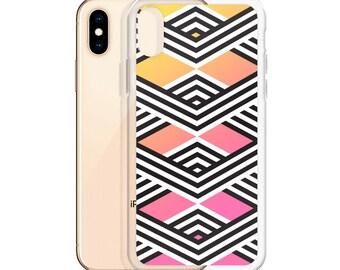 Black and White Stripe Geo Ombre iPhone Case