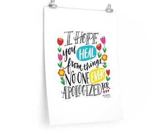 Hand Lettering Hope Heal Premium Matte vertical posters