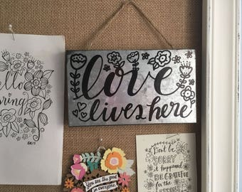 Love Lives Here Hand Lettered Rectangular Galvanized Metal Rustic Farm Decor Hanging Sign