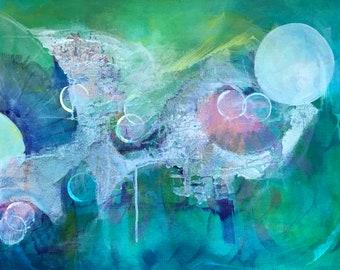 Bubble Garden Original Art Whimsical Abstract Painting 16 x 20  by Sandra Saylor Seaman