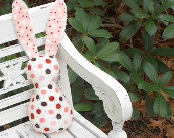 Pink and Brown Dot Bits The Bunny Plush Rattle - SALE