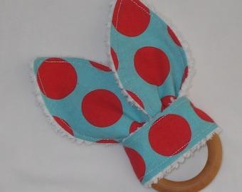 Red and Aqua Polka Dot Rabbit Ears Wooden Teething Ring
