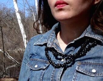Fabric Pearls - black and white polka dot