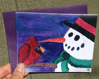 Snowman & Cardinal Card