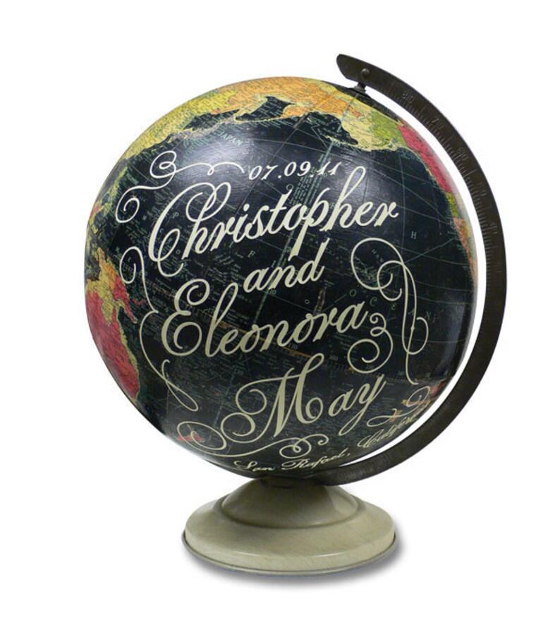 Vintage Globe Art Customized Wedding Or Anniversary Gift Etsy