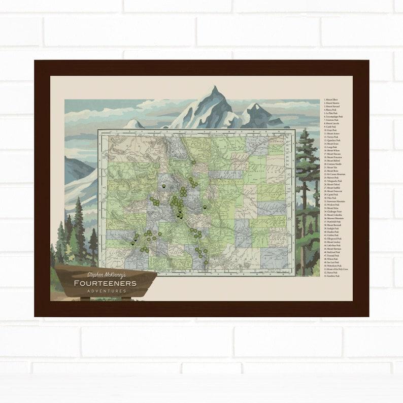 Travel Gift Colorado Hiking Gift Personalized Colorado 14er Mountain Push Pin Map Fourteener Pushpin Map Art