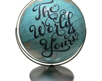 Vintage Globe Art, Onward , Graduation Present, World Globe, Adventure Awaits