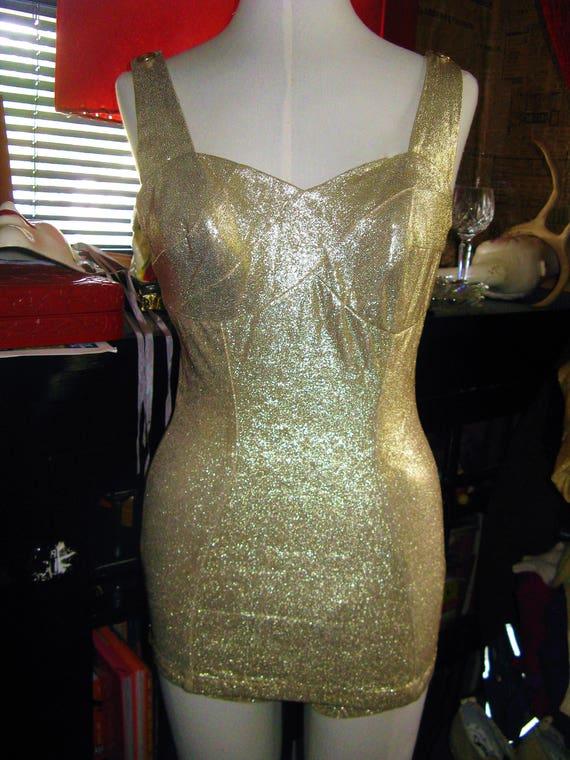 1950s 50s Gold Lurex Lame' Robby Len Fashions Pinu