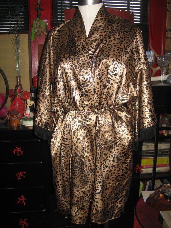 Val Mode USA Leopard kimono robe cover-up top Smal