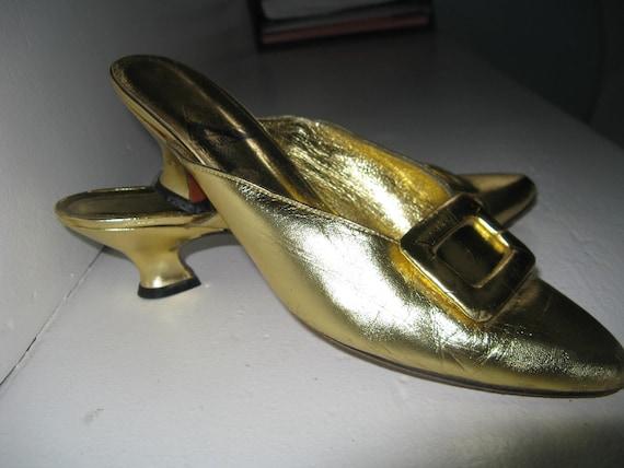 Vintage 80s 1980s does 1940s Metallic Gold Louis H