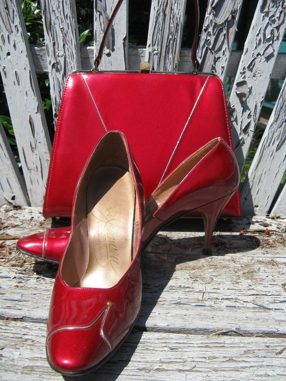 Johansen 50s Quasar Red pinup stiletto shoes and h