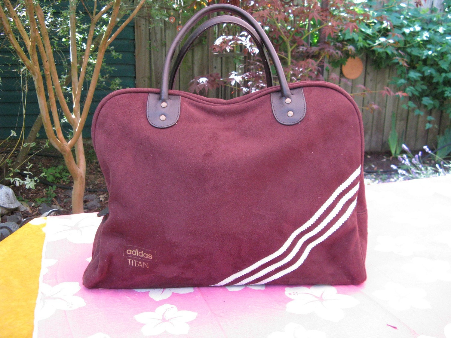 Adidas Titan Brown Faux Suede Overnighter Bowling Bag As