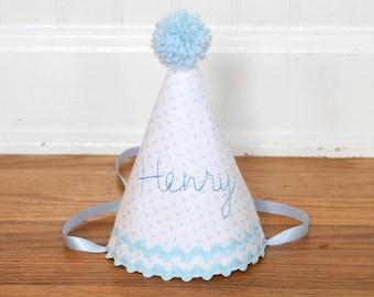 Boy first birthday hat | Blue boy birthday | Custom party hat | Handmade birthday hat | Personalized party hat | Baby keepsake