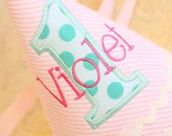 Girl Birthday Hat - Pink and aqua - Michael Miller aqua ta dots fabric - Free personalization
