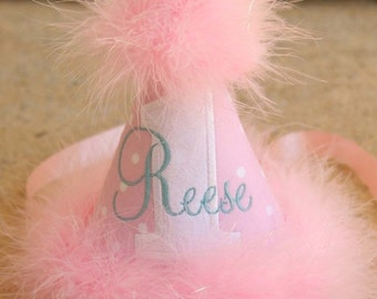 SPRING SALE First Birthday Party Hat - So Sweet Pink and White Dots with Aqua - Free personalization