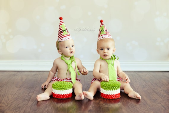 First Birthday Christmas Party Hat Combo