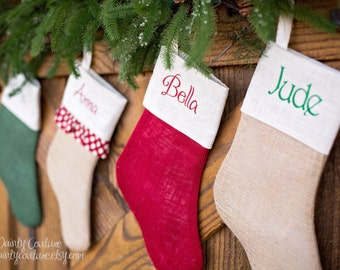 Farmhouse Christmas Decor - Ships prior to Christmas - Burlap stocking - Black Friday sale