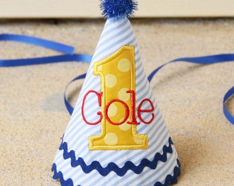 Birthday Hat - Blue, red, and yellow - Seersucker stripes and Michael Miller sunny dots - Free personalization
