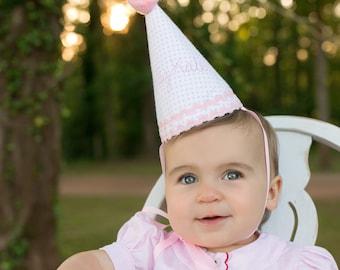 Girl first birthday hat | Pink girl birthday | Custom birthday hat | Handmade party hat | Personalized birthday hat | Baby keepsake