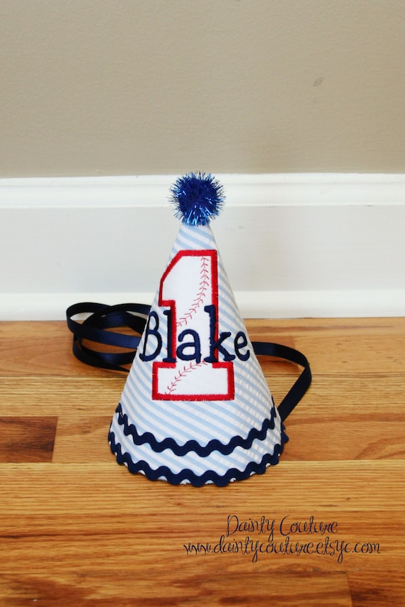 13dcc943ad8 Baseball Birthday Hat Baseball theme in Navy blue red and