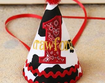 Boys first birthday hat -Cowboy theme in black, white, and red bandana - Free personalization - Keepsake