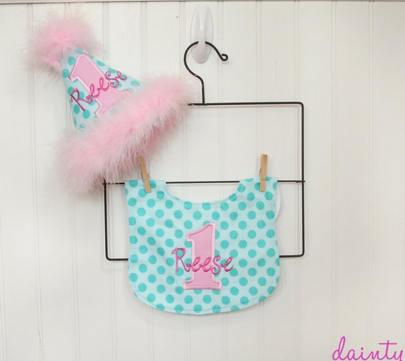 Girls First Birthday Party Hat And Bib