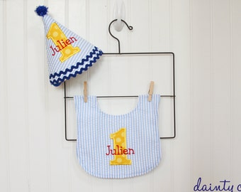 Boys First Birthday Party Hat and Bib - Blue, red, and yellow - 1st birthday boy - Boy 1st birthday - Free personalization