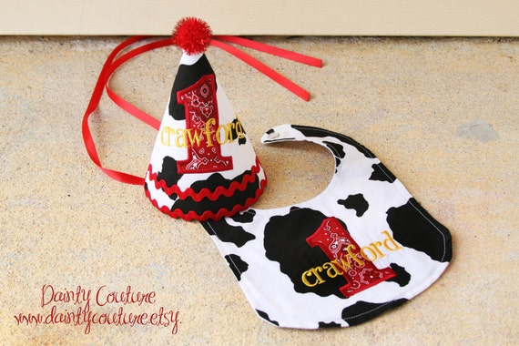 Boys First Birthday Hat Cowboy Theme In Black White And Red Bandana