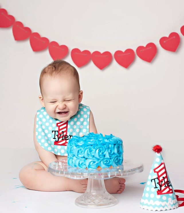 Valentine Birthday Party Hat and Bib - Darling aqua blue dots and red and white stripes - Michael Miller ocean dots