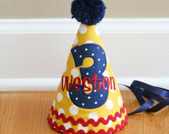Boys First Birthday Party Hat - Yellow, red, and navy - Free personalization