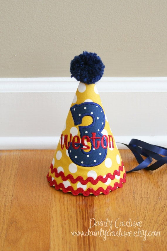 05ce6a261f5 Boys First Birthday Party Hat Yellow red and navy Free