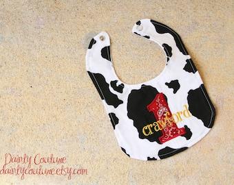 Boys first birthday bib - Cowboy theme in black, white, and red bandana - Free personalization - Keepsake