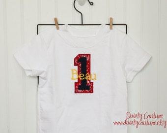 Boy 1st Birthday shirt - Cowboy theme - Red bandana, navy, and yellow - Free personalization