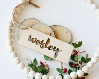 Stocking Tag - Stocking Ornament - Christmas Gift - Stocking Personalization - Wood Monogram - Wood Name tag - Black Friday SALE