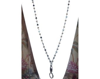 "Hematite Heart Lanyard With Crystals - 34"" ID Badge Lanyard - Jewelry Lanyard - Fashion Lanyard - Breakaway Lanyard or Strong Style"