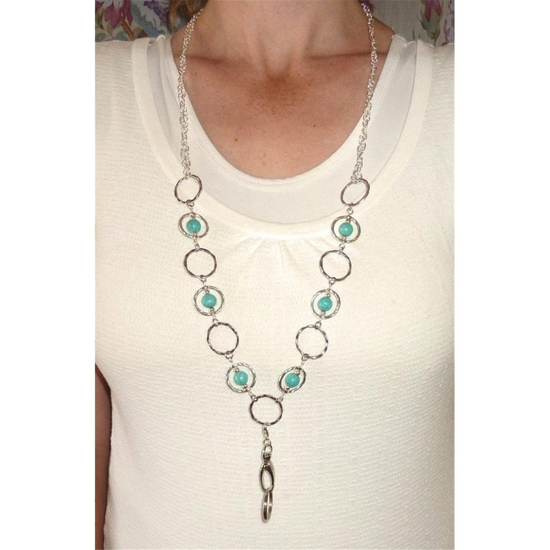 Turquoise Rings Fashion Lanyard For Women - ID Badge Lanyard - Lanyard  Necklace - Women's Beaded Lanyard 34 inches, Key and badge holder