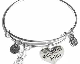 Mother of the Bride Expandable Message Charm Bangle Cuff Bracelet, Comes in a Gift box.