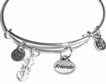 Friends Expandable Message Charm Bangle Cuff Bracelet, Comes in a Gift box.
