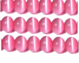 "Cat's Eye Beads, 15"" Strand, Fiber optic beads - Dark Pink - Choose your size"
