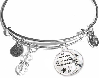 I love you to the moon and back Expandable Message Charm Bangle Cuff Bracelet, Comes in a Gift box.