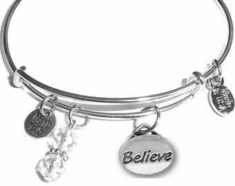 Believe Expandable Message Charm Bangle Cuff Bracelet, Comes in a Gift box.