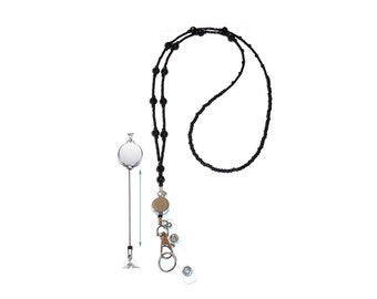 """Retractable Badge Reel, Women's Slim Style Beaded Fashion Lanyard Necklace, 34"""" Made in USA Strong Jewelry Lanyard, ID Holder, Keys - Black"""