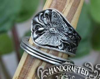 Death's-head Hawkmoth Ring - Adjustable - Wrap Style - Handcrafted Pewter by Doctor Gus - Beautiful Antique Inspired Insect Ring