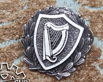 Harp Heraldic Badge - Heraldry Cosplay Pin - Handcrafted Pewter Accessories by Doctor Gus - RPG LARP Roleplaying Enamel Pin Badge SCA