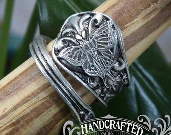 Luna Moth Ring - Adjustable - Wrap Style - Handcrafted Pewter by Doctor Gus - Beautiful Antique Inspired Insect Ring